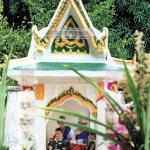 The inside of a spirit house represents the spirit's living space, so here one commonly finds one or many miniature human beings, pieces of furniture, domestic animals and livestock, the odd TV or matchbox car.
