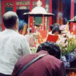 Worshipping at Lungshan Temple, Taipei. Religion is just one example of Chinese influence on Taiwanese life.