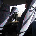 Soldier on the bus to Jerusalem.