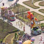 A picture of a parade (one of many at Everland) captured from a Ferris Wheel.