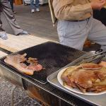 Barbecuing pork by the side of the road. You can see this along the way up Mount Maisan.