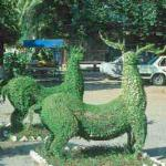 Tops in topiary: a park overlooking the Mekong River, at Neak Luong