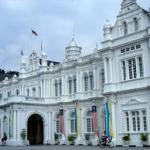 Colonial edifice on the padang, a pleasant seaside playing field and promenade.