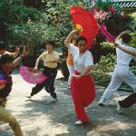 Fan dance in Lou Lim Ieoc Garden, Macau.