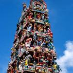The elaborate gopuram over the main entrance to the Sri Mariamman temple.