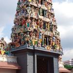 The temple's main entrance, with its elaborate gopuram. The tower's prominence over nearby buildings meant that worshippers could see it from afar and therefore offer prayers even whilst away from the temple.